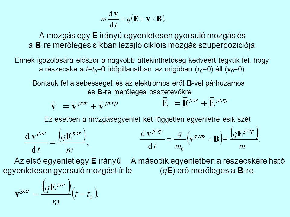 A mozgás egy E irányú egyenletesen gyorsuló mozgás és a B-re merőleges síkban lezajló ciklois mozgás szuperpoziciója.