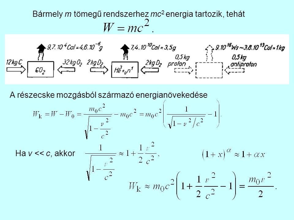 Bármely m tömegű rendszerhez mc 2 energia tartozik, tehát A részecske mozgásból származó energianövekedése Ha v << c, akkor