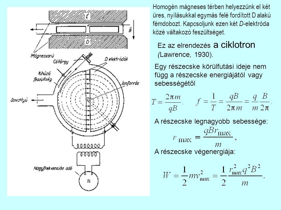 Homogén mágneses térben helyezzünk el két üres, nyílásukkal egymás felé fordított D alakú fémdobozt. Kapcsoljunk ezen két D -elektróda közé váltakozó
