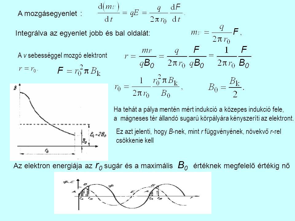 A mozgásegyenlet : Integrálva az egyenlet jobb és bal oldalát: A v sebességgel mozgó elektront Ha tehát a pálya mentén mért indukció a közepes indukció fele, a mágneses tér állandó sugarú körpályára kényszeríti az elektront.