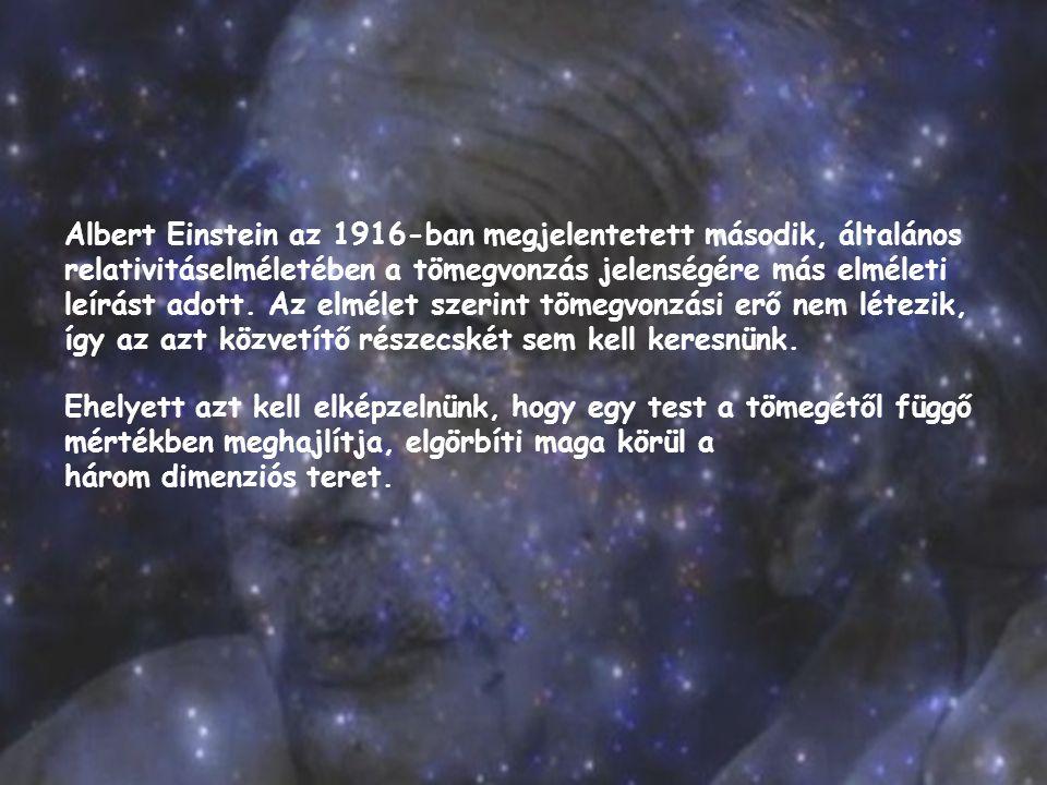 Albert Einstein az 1916-ban megjelentetett második, általános relativitáselméletében a tömegvonzás jelenségére más elméleti leírást adott. Az elmélet