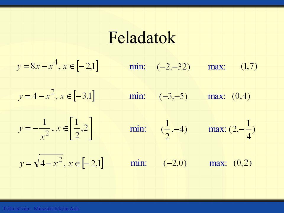 Tóth István – Műszaki Iskola Ada Feladatok min: max: min: max: min: max: min: max: