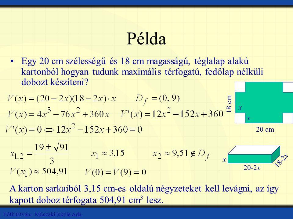 Tóth István – Műszaki Iskola Ada Példa Egy 20 cm szélességű és 18 cm magasságú, téglalap alakú kartonból hogyan tudunk maximális térfogatú, fedőlap nélküli dobozt készíteni.