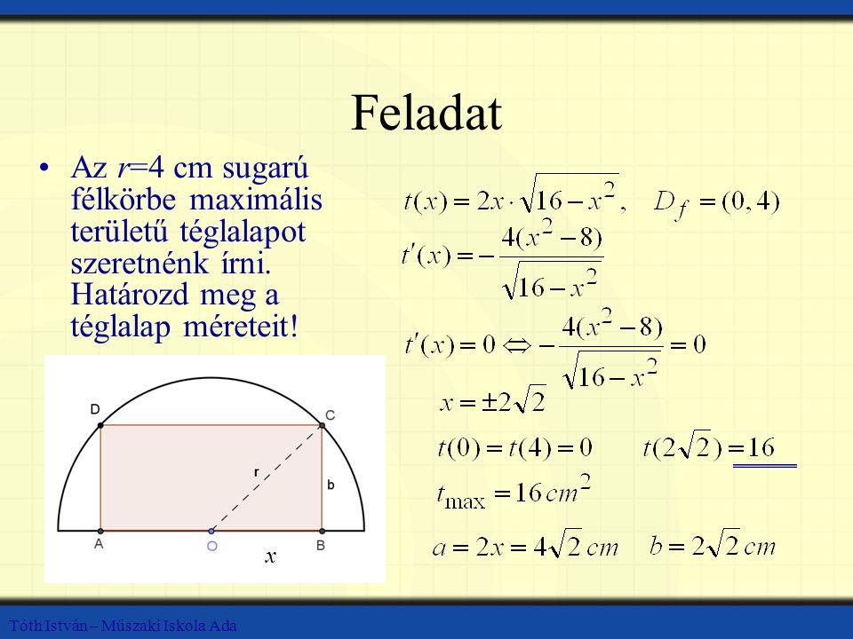 Tóth István – Műszaki Iskola Ada Feladat Az r=4 cm sugarú félkörbe maximális területű téglalapot szeretnénk írni. Határozd meg a téglalap méreteit! x