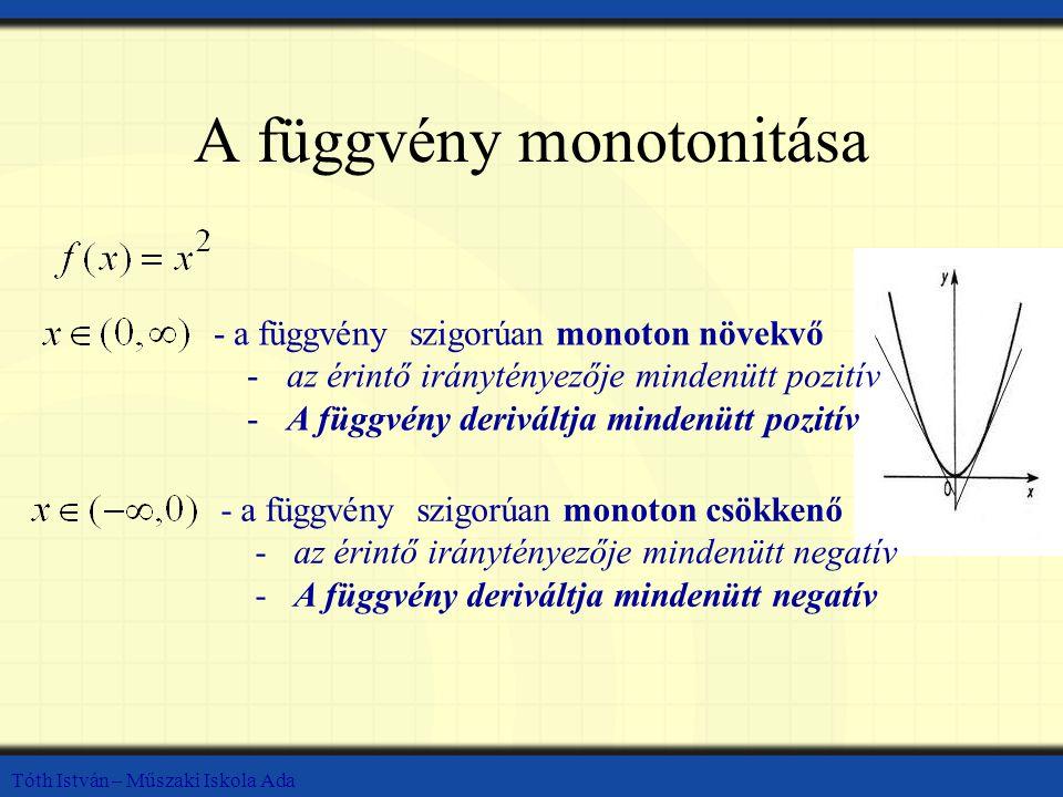Tóth István – Műszaki Iskola Ada A függvény monotonitása -a függvény szigorúan monoton növekvő -az érintő iránytényezője mindenütt pozitív -A függvény deriváltja mindenütt pozitív -a függvény szigorúan monoton csökkenő -az érintő iránytényezője mindenütt negatív -A függvény deriváltja mindenütt negatív