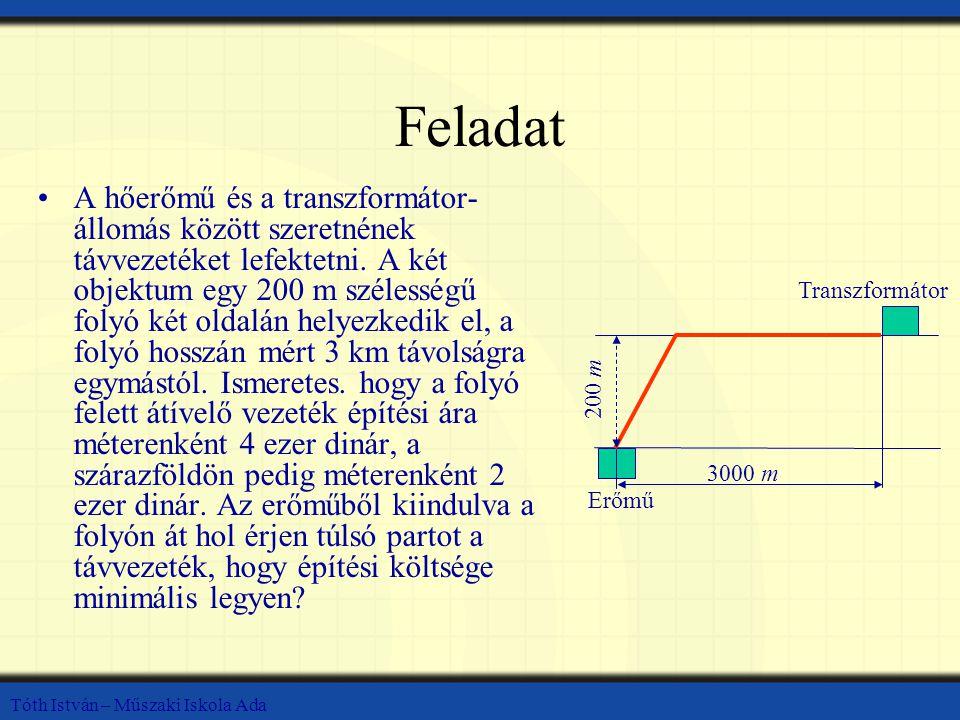 Tóth István – Műszaki Iskola Ada Feladat A hőerőmű és a transzformátor- állomás között szeretnének távvezetéket lefektetni. A két objektum egy 200 m s