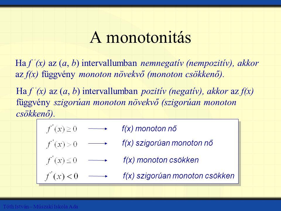 Tóth István – Műszaki Iskola Ada A monotonitás Ha f ' (x) az (a, b) intervallumban nemnegatív (nempozitív), akkor az f(x) függvény monoton növekvő (monoton csökkenő).