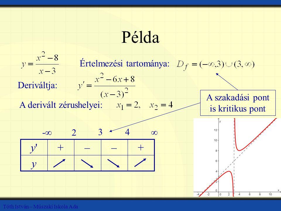 Tóth István – Műszaki Iskola Ada Példa Értelmezési tartománya: Deriváltja: A derivált zérushelyei: y +––+y y -∞ 2 34 ∞ A szakadási pont is kritikus pont