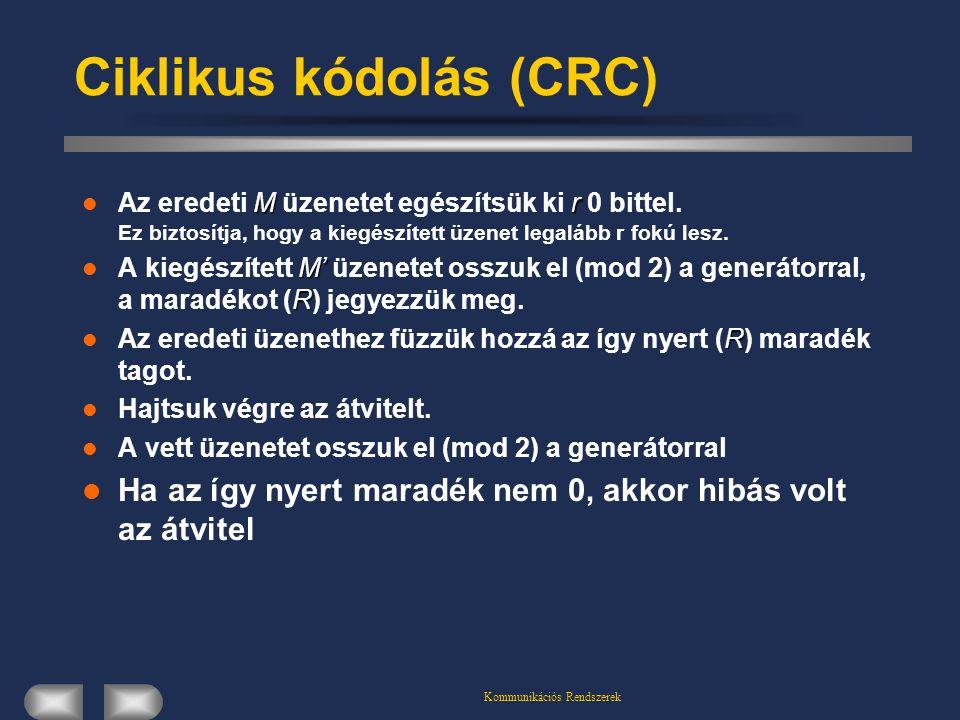 Kommunikációs Rendszerek Ciklikus kódolás (CRC) M r Az eredeti M üzenetet egészítsük ki r 0 bittel. Ez biztosítja, hogy a kiegészített üzenet legalább