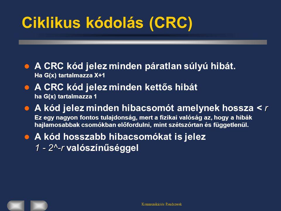 Kommunikációs Rendszerek Ciklikus kódolás (CRC) A CRC kód jelez minden páratlan súlyú hibát. Ha G(x) tartalmazza X+1 A CRC kód jelez minden kettős hib