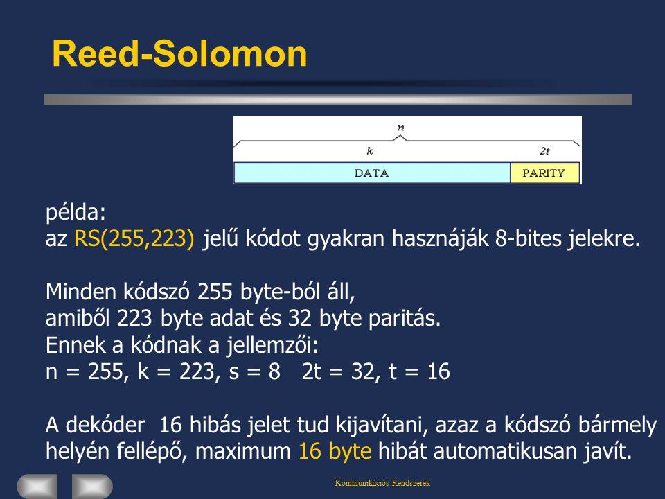 Kommunikációs Rendszerek Reed-Solomon példa: az RS(255,223) jelű kódot gyakran hasznáják 8-bites jelekre. Minden kódszó 255 byte-ból áll, amiből 223 b