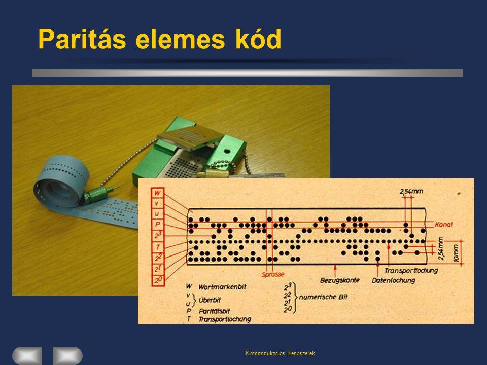Kommunikációs Rendszerek Paritás elemes kód Egy un.