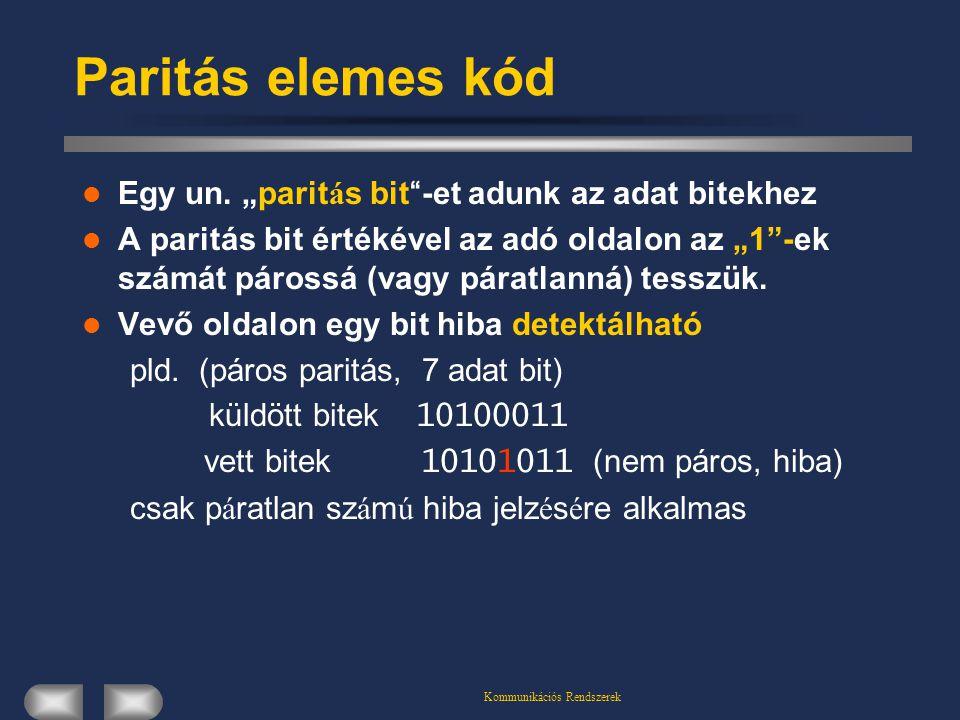 """Kommunikációs Rendszerek Paritás elemes kód Egy un. """"parit á s bit """" -et adunk az adat bitekhez A paritás bit értékével az adó oldalon az """"1""""-ek számá"""