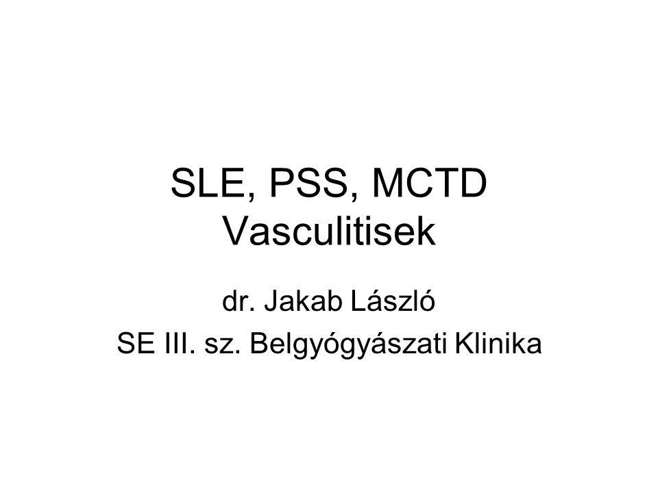 Kisér-vasculitis (small vessel vasculitis – SVV) 2 Immunkomplex kisér-vasculitisek (IC-SVV) Antiglomerularis basalis membrán betegség (Goodpasture-szindróma) (anti-GBM) (vese, tüdő→vérzés) Cryoglobulinaemiás vasculitis (CV) (bőr, vese, perifériás ideg érintettség) IgA-vasculitis (Henoch-Schönlein-purpura) (IgAV) (bőr, gastrointest.