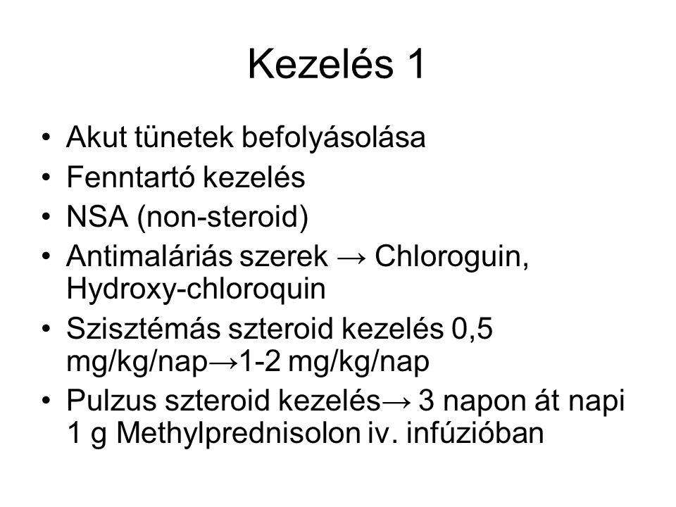 Kezelés 1 Akut tünetek befolyásolása Fenntartó kezelés NSA (non-steroid) Antimaláriás szerek → Chloroguin, Hydroxy-chloroquin Szisztémás szteroid keze