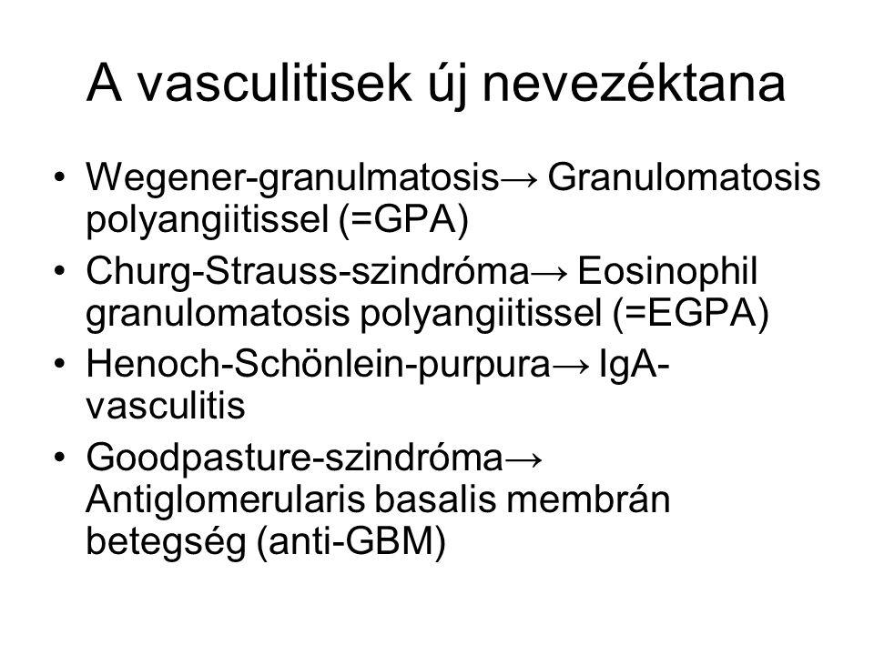 A vasculitisek új nevezéktana Wegener-granulmatosis→ Granulomatosis polyangiitissel (=GPA) Churg-Strauss-szindróma→ Eosinophil granulomatosis polyangi