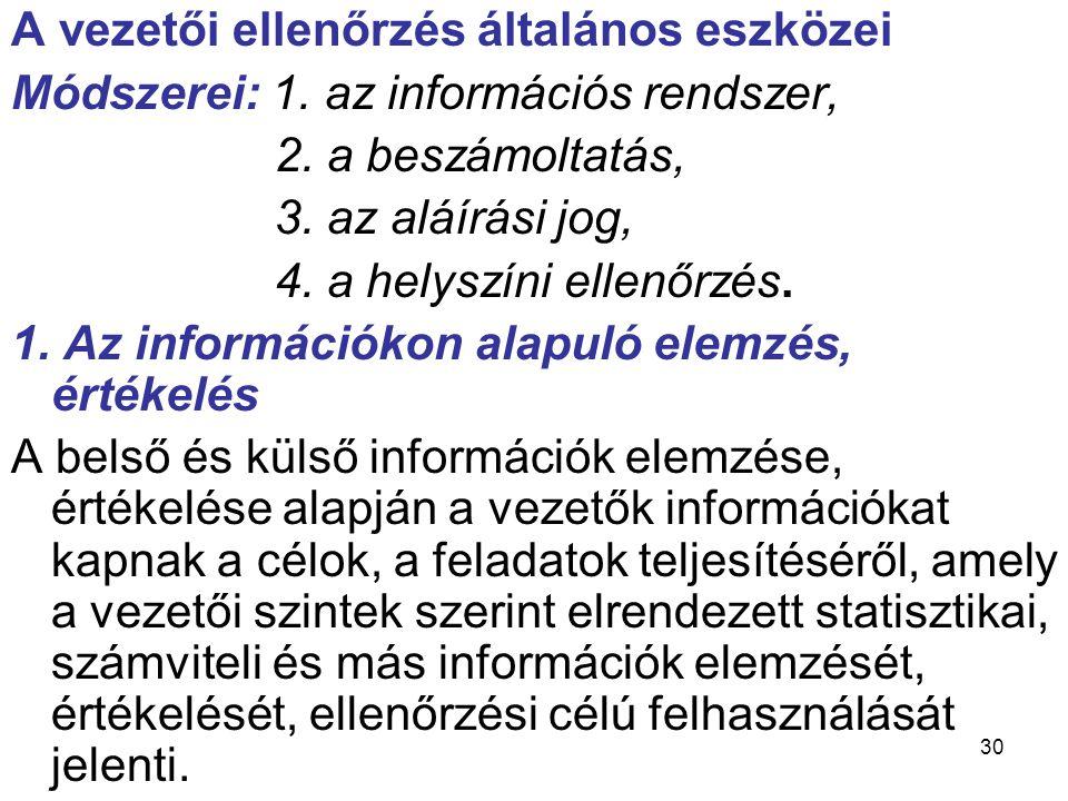 30 A vezetői ellenőrzés általános eszközei Módszerei: 1. az információs rendszer, 2. a beszámoltatás, 3. az aláírási jog, 4. a helyszíni ellenőrzés. 1