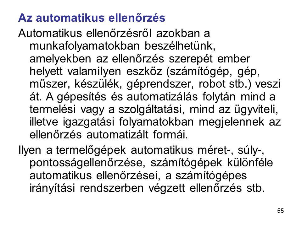 55 Az automatikus ellenőrzés Automatikus ellenőrzésről azokban a munkafolyamatokban beszélhetünk, amelyekben az ellenőrzés szerepét ember helyett vala