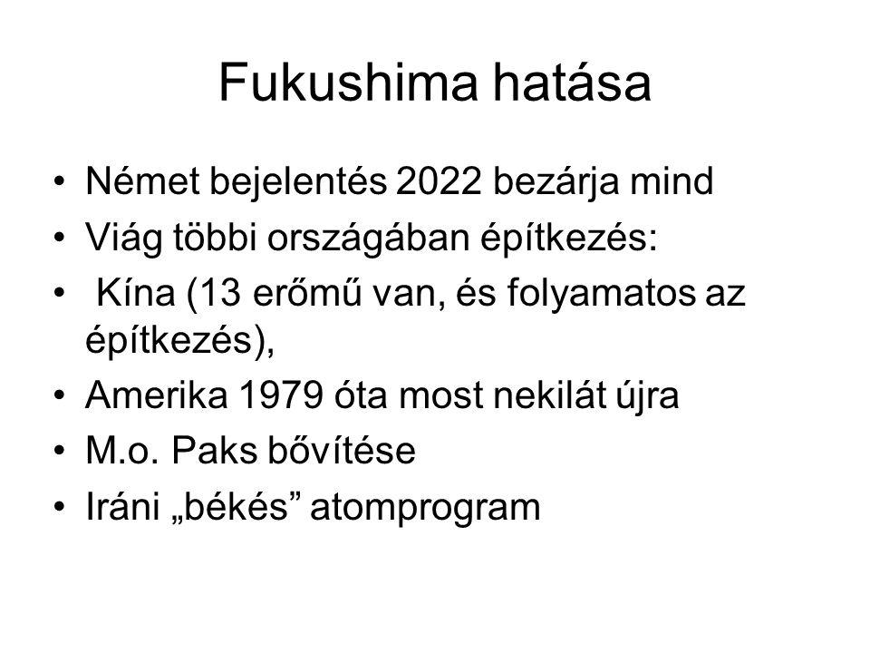 Fukushima hatása Német bejelentés 2022 bezárja mind Viág többi országában építkezés: Kína (13 erőmű van, és folyamatos az építkezés), Amerika 1979 óta most nekilát újra M.o.