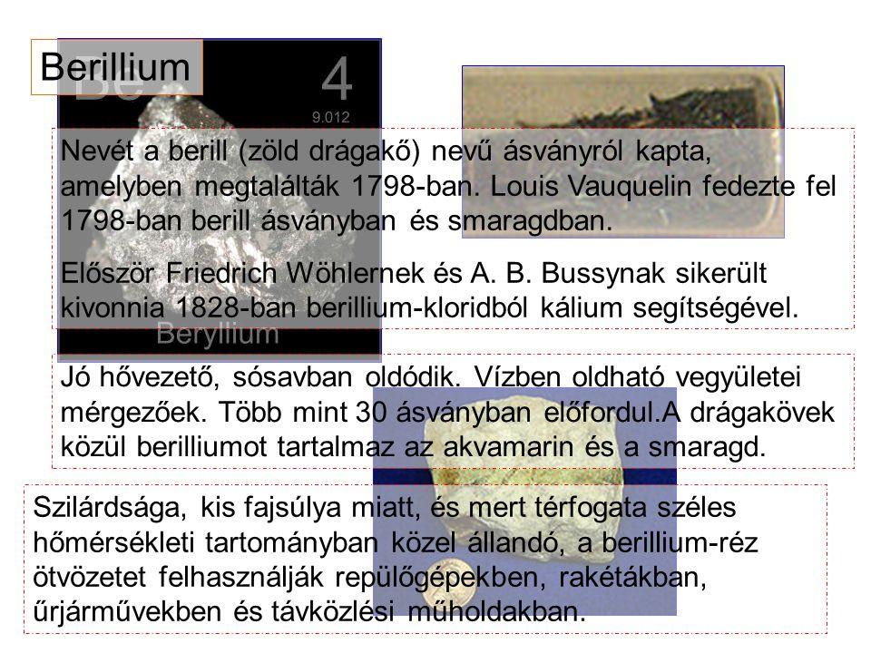 Nevét a berill (zöld drágakő) nevű ásványról kapta, amelyben megtalálták 1798-ban. Louis Vauquelin fedezte fel 1798-ban berill ásványban és smaragdban