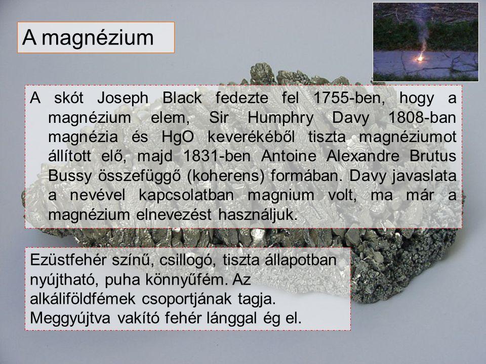 A skót Joseph Black fedezte fel 1755-ben, hogy a magnézium elem, Sir Humphry Davy 1808-ban magnézia és HgO keverékéből tiszta magnéziumot állított elő