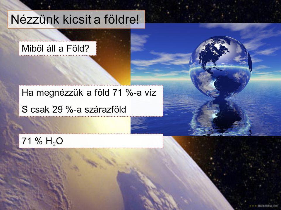Nézzünk kicsit a földre! Miből áll a Föld? Ha megnézzük a föld 71 %-a víz S csak 29 %-a szárazföld 71 % H 2 O