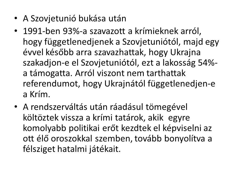 A Szovjetunió bukása után 1991-ben 93%-a szavazott a krímieknek arról, hogy függetlenedjenek a Szovjetuniótól, majd egy évvel később arra szavazhattak