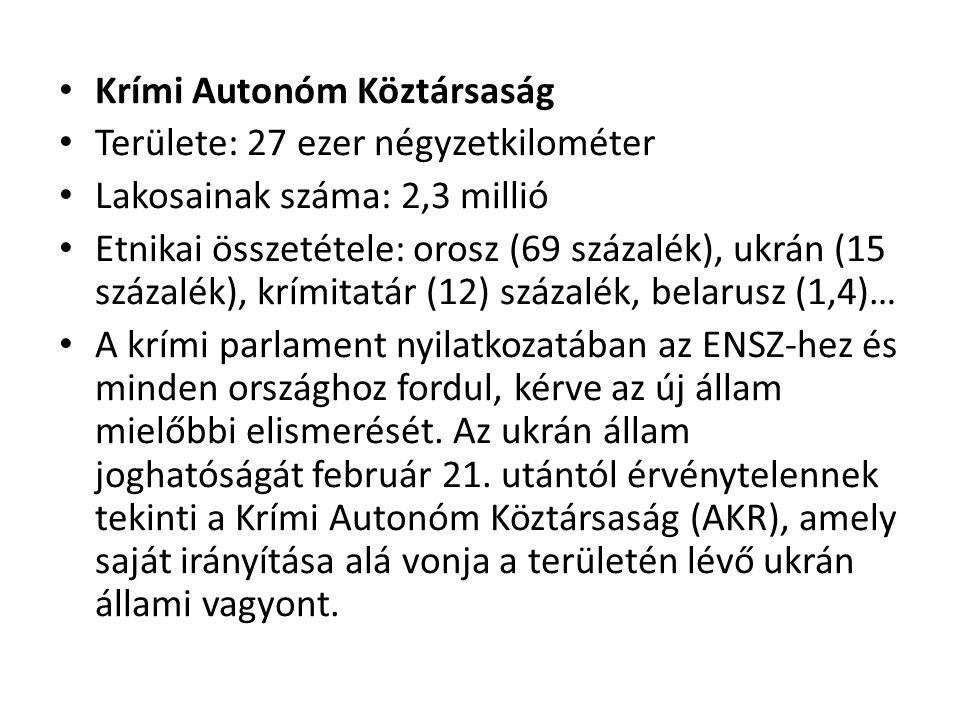Krími Autonóm Köztársaság Területe: 27 ezer négyzetkilométer Lakosainak száma: 2,3 millió Etnikai összetétele: orosz (69 százalék), ukrán (15 százalék