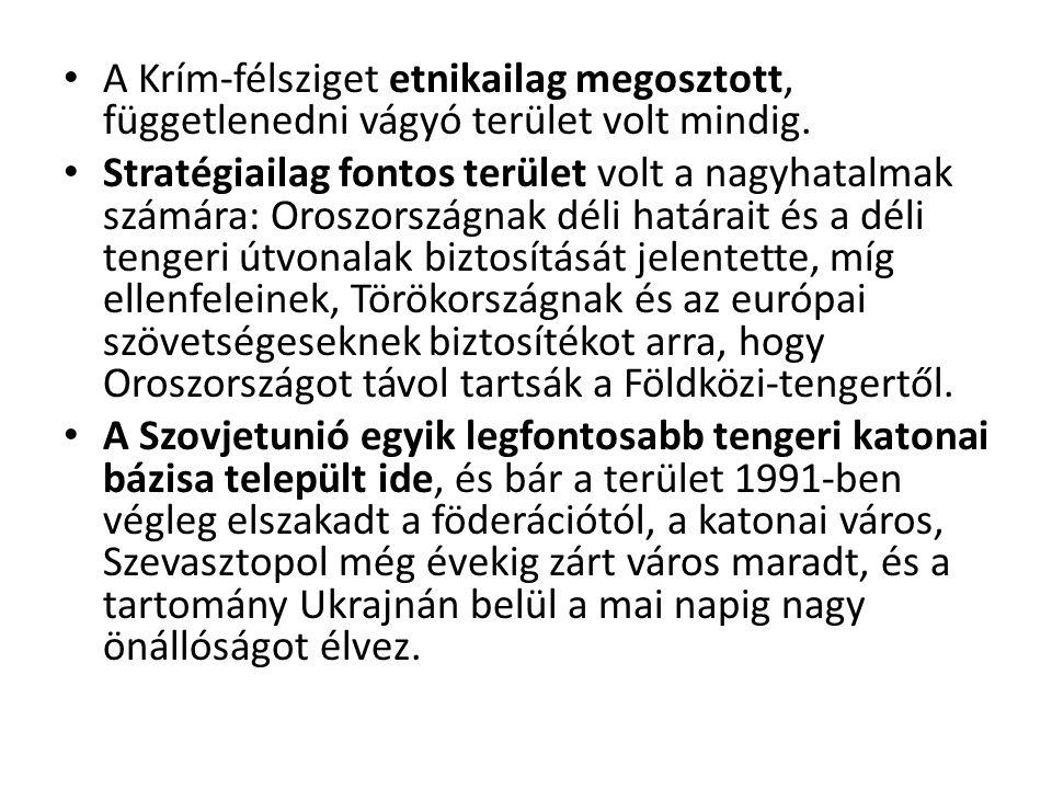 A Krím-félsziget etnikailag megosztott, függetlenedni vágyó terület volt mindig. Stratégiailag fontos terület volt a nagyhatalmak számára: Oroszország