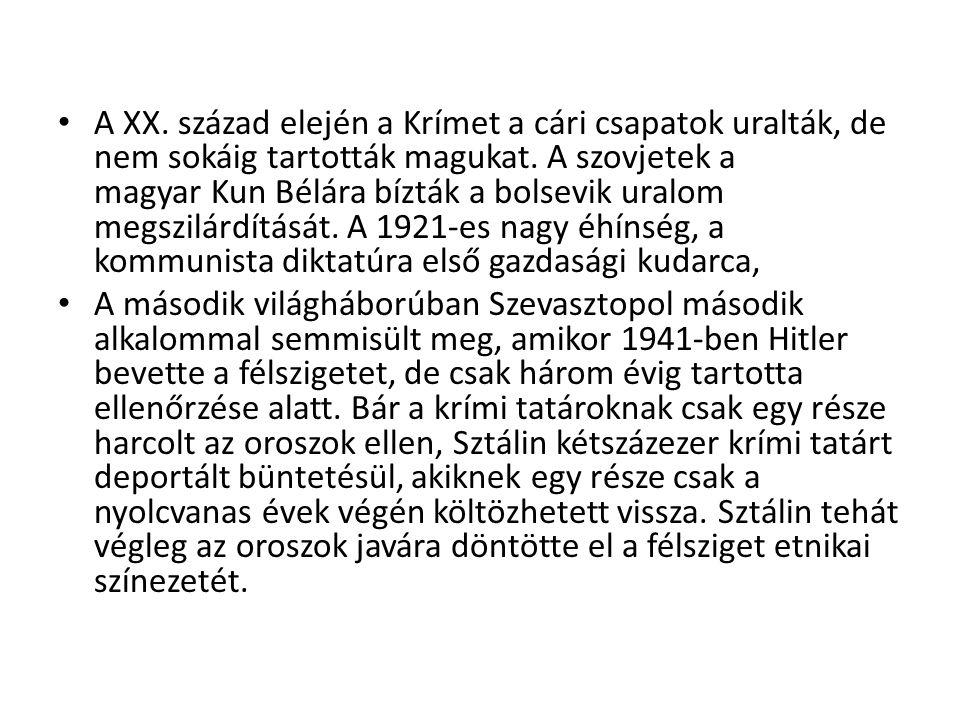 A XX. század elején a Krímet a cári csapatok uralták, de nem sokáig tartották magukat. A szovjetek a magyar Kun Bélára bízták a bolsevik uralom megszi