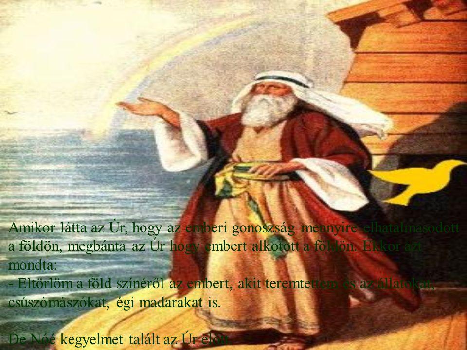 Amikor látta az Úr, hogy az emberi gonoszság mennyire elhatalmasodott a földön, megbánta az Úr hogy embert alkotott a földön. Ekkor azt mondta: - Eltö