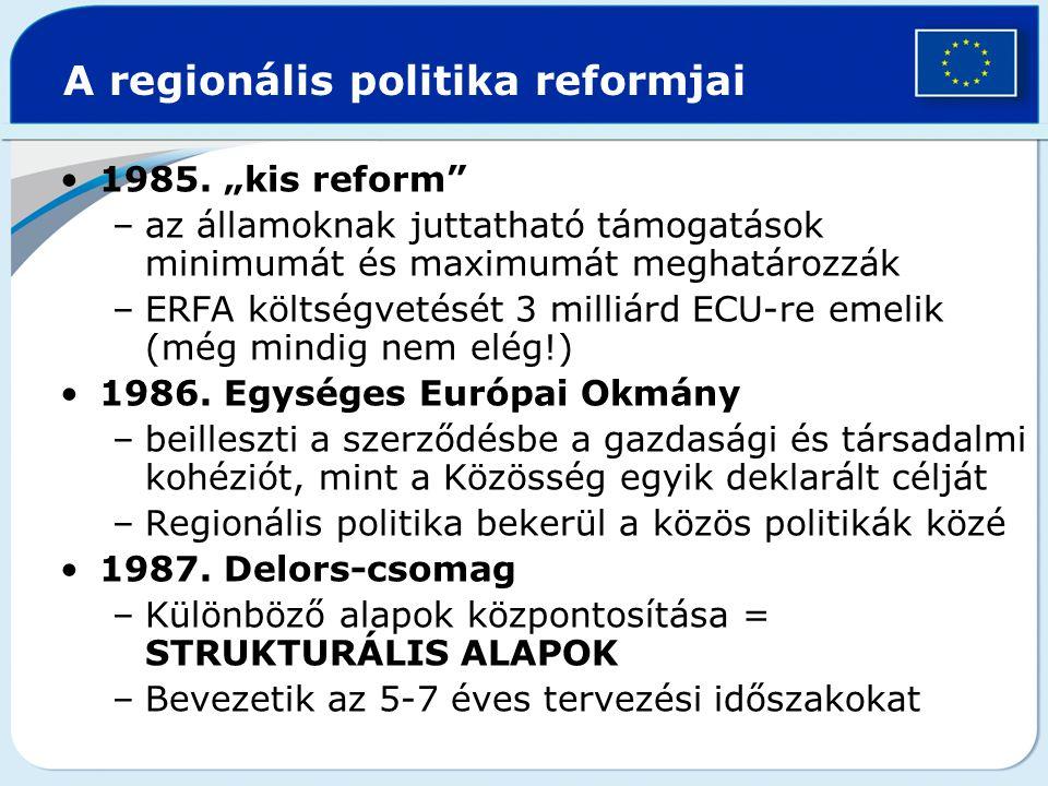 """A regionális politika reformjai 1985. """"kis reform"""" –az államoknak juttatható támogatások minimumát és maximumát meghatározzák –ERFA költségvetését 3 m"""