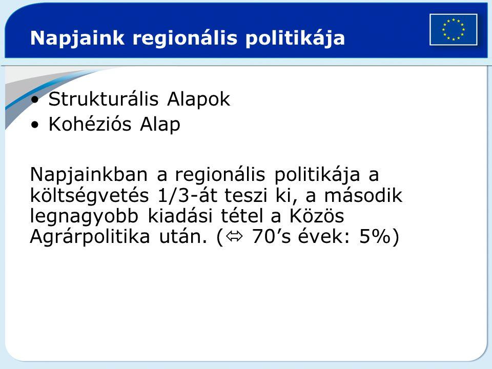 Napjaink regionális politikája Strukturális Alapok Kohéziós Alap Napjainkban a regionális politikája a költségvetés 1/3-át teszi ki, a második legnagy