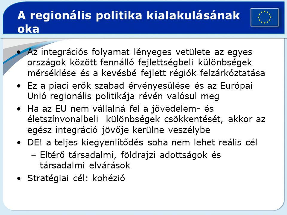 Cél a szociális és regionális különbségek csökkentése 1.Kedvezőtlenebb helyzetű régiók versenyképességének növelése 2.Munkavállalók jogainak erősítése és harmonizálása 3.Elmaradott régiók foglalkoztatási körülményeinek javítása és gazdasági potenciáljának erősítése Lényeges viszont, hogy a kohéziót előmozdító intézkedések NEM a szabad piac elve által vezérelt uniós politikák HELYETT fogalmazódik meg, hanem azokkal PÁRHUZAMOSAN kerülnek alkalmazásra.