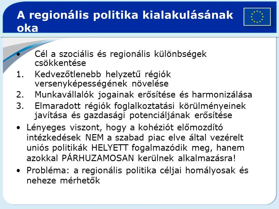 Cél a szociális és regionális különbségek csökkentése 1.Kedvezőtlenebb helyzetű régiók versenyképességének növelése 2.Munkavállalók jogainak erősítése