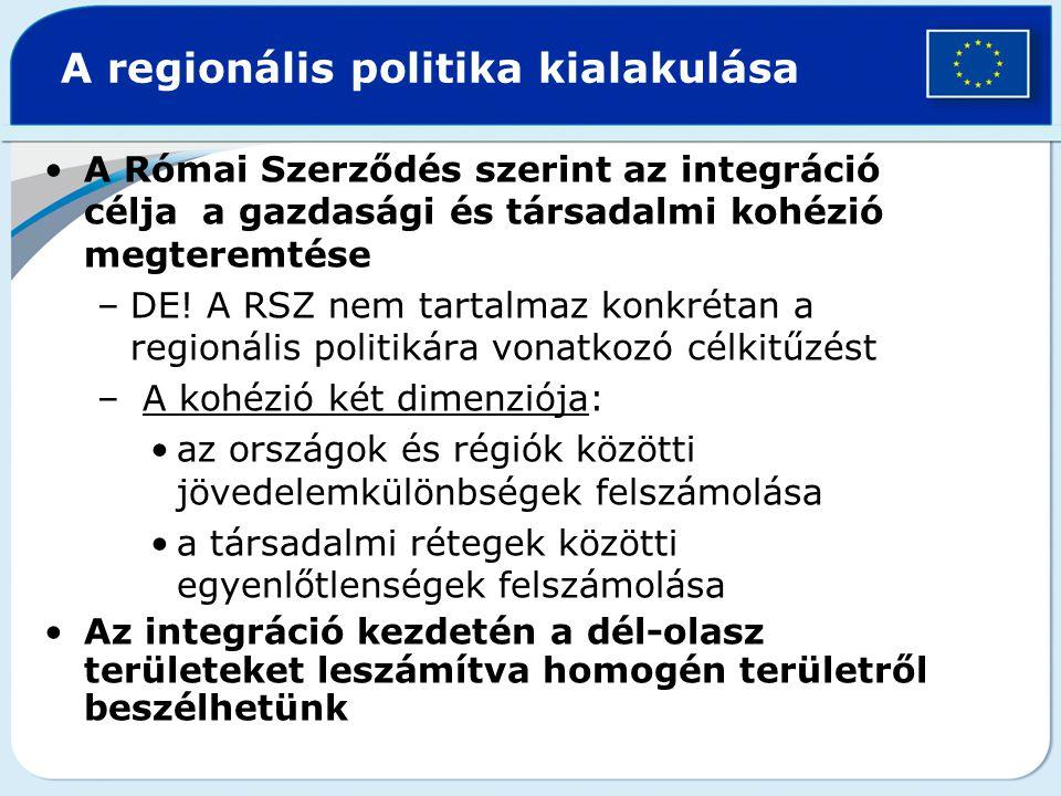 A regionális politika kialakulása A Római Szerződés szerint az integráció célja a gazdasági és társadalmi kohézió megteremtése –DE! A RSZ nem tartalma