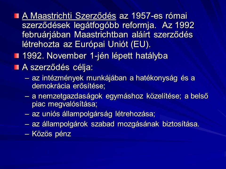 A Maastrichti Szerződés az 1957-es római szerződések legátfogóbb reformja.