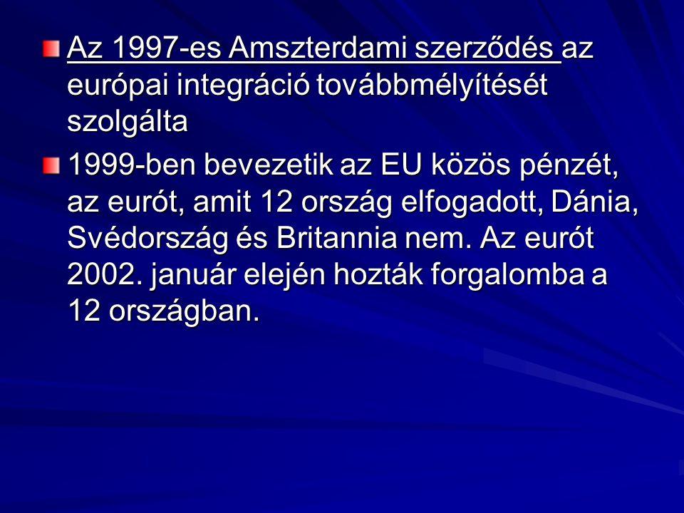 Az 1997-es Amszterdami szerződés az európai integráció továbbmélyítését szolgálta 1999 ‑ ben bevezetik az EU közös pénzét, az eurót, amit 12 ország elfogadott, Dánia, Svédország és Britannia nem.