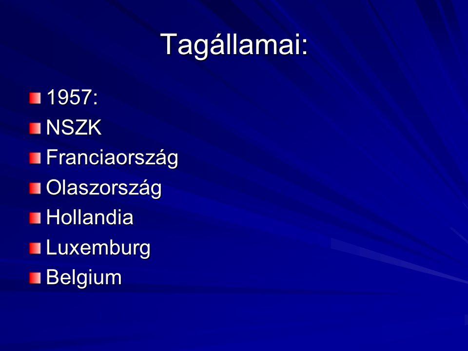 Tagállamai: 1957:NSZKFranciaországOlaszországHollandiaLuxemburgBelgium