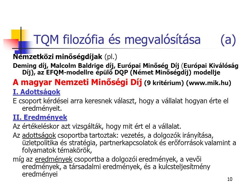 10 TQM filozófia és megvalósítása (a) Nemzetközi minőségdíjak (pl.) Deming díj, Malcolm Baldrige díj, Európai Minőség Díj (Európai Kiválóság Díj), az EFQM-modellre épülő DQP (Német Minőségdíj) modellje A magyar Nemzeti Minőségi Díj (9 kritérium) (www.mik.hu) I.