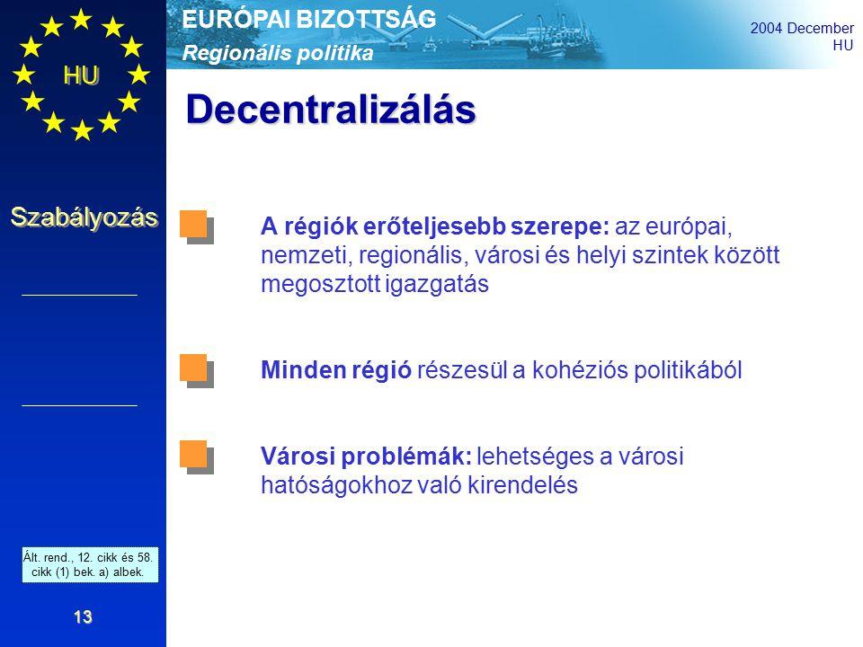 Regionális politika EURÓPAI BIZOTTSÁG 2004 December HU Szabályozás 13 Decentralizálás A régiók erőteljesebb szerepe: az európai, nemzeti, regionális, városi és helyi szintek között megosztott igazgatás Minden régió részesül a kohéziós politikából Városi problémák: lehetséges a városi hatóságokhoz való kirendelés Ált.
