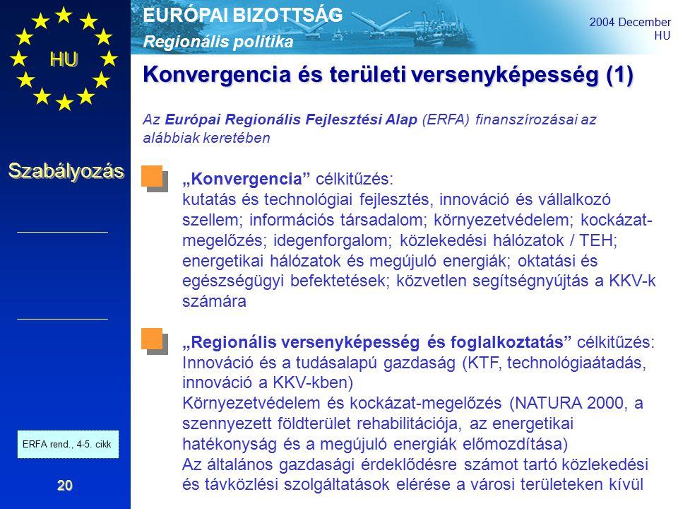 """Regionális politika EURÓPAI BIZOTTSÁG 2004 December HU Szabályozás 20 Konvergencia és területi versenyképesség (1) Az Európai Regionális Fejlesztési Alap (ERFA) finanszírozásai az alábbiak keretében """"Konvergencia célkitűzés: kutatás és technológiai fejlesztés, innováció és vállalkozó szellem; információs társadalom; környezetvédelem; kockázat- megelőzés; idegenforgalom; közlekedési hálózatok / TEH; energetikai hálózatok és megújuló energiák; oktatási és egészségügyi befektetések; közvetlen segítségnyújtás a KKV-k számára """"Regionális versenyképesség és foglalkoztatás célkitűzés: Innováció és a tudásalapú gazdaság (KTF, technológiaátadás, innováció a KKV-kben) Környezetvédelem és kockázat-megelőzés (NATURA 2000, a szennyezett földterület rehabilitációja, az energetikai hatékonyság és a megújuló energiák előmozdítása) Az általános gazdasági érdeklődésre számot tartó közlekedési és távközlési szolgáltatások elérése a városi területeken kívül ERFA rend., 4-5."""