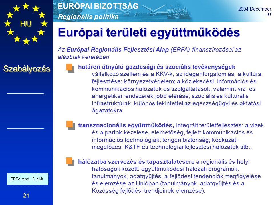 Regionális politika EURÓPAI BIZOTTSÁG 2004 December HU Szabályozás 21 határon átnyúló gazdasági és szociális tevékenységek vállalkozó szellem és a KKV-k, az idegenforgalom és a kultúra fejlesztése; környezetvédelem; a közlekedési, információs és kommunikációs hálózatok és szolgáltatások, valamint víz- és energetikai rendszerek jobb elérése; szociális és kulturális infrastruktúrák, különös tekintettel az egészségügyi és oktatási ágazatokra; transznacionális együttműködés, integrált területfejlesztés: a vizek és a partok kezelése, elérhetőség, fejlett kommunikációs és információs technológiák; tengeri biztonság; kockázat- megelőzés; K&TF és technológiai fejlesztési hálózatok stb.; hálózatba szervezés és tapasztalatcsere a regionális és helyi hatóságok között: együttműködési hálózati programok, tanulmányok, adatgyűjtés, a fejlődési tendenciák megfigyelése és elemzése az Unióban (tanulmányok, adatgyűjtés és a Közösség fejlődési trendjeinek elemzése).