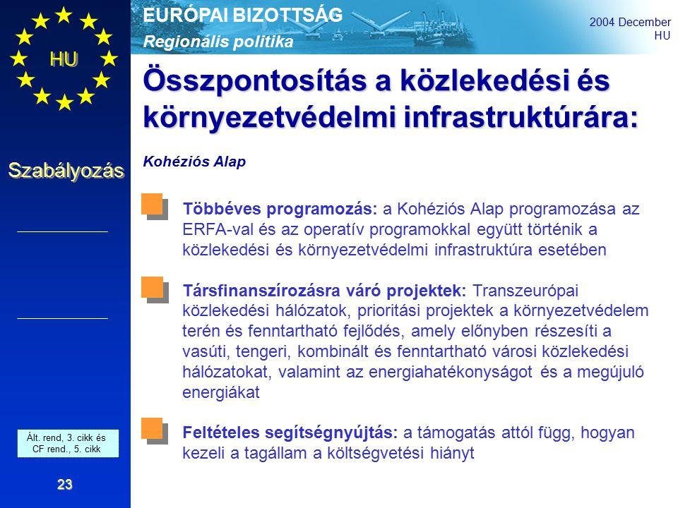 Regionális politika EURÓPAI BIZOTTSÁG 2004 December HU Szabályozás 23 Összpontosítás a közlekedési és környezetvédelmi infrastruktúrára: Kohéziós Alap Többéves programozás: a Kohéziós Alap programozása az ERFA-val és az operatív programokkal együtt történik a közlekedési és környezetvédelmi infrastruktúra esetében Társfinanszírozásra váró projektek: Transzeurópai közlekedési hálózatok, prioritási projektek a környezetvédelem terén és fenntartható fejlődés, amely előnyben részesíti a vasúti, tengeri, kombinált és fenntartható városi közlekedési hálózatokat, valamint az energiahatékonyságot és a megújuló energiákat Feltételes segítségnyújtás: a támogatás attól függ, hogyan kezeli a tagállam a költségvetési hiányt Art.