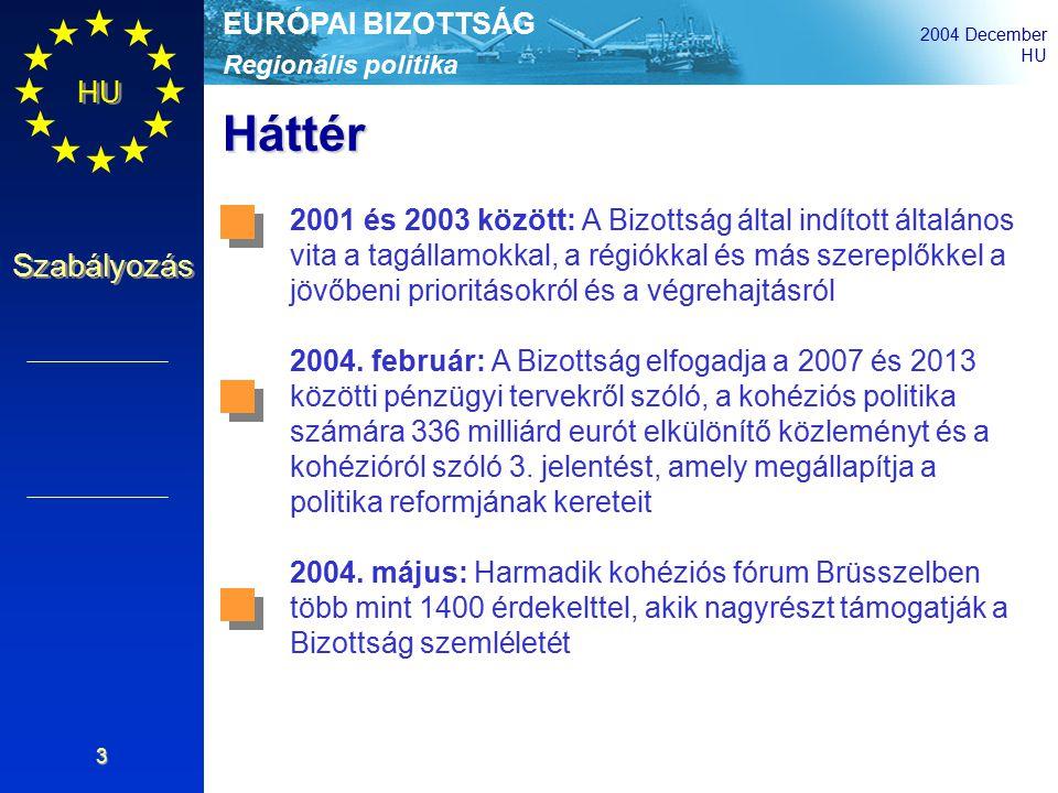 Regionális politika EURÓPAI BIZOTTSÁG 2004 December HU Szabályozás 3 Háttér 2001 és 2003 között: A Bizottság által indított általános vita a tagállamokkal, a régiókkal és más szereplőkkel a jövőbeni prioritásokról és a végrehajtásról 2004.