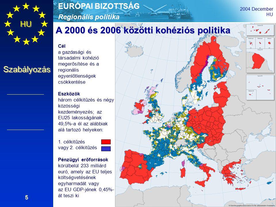Regionális politika EURÓPAI BIZOTTSÁG 2004 December HU Szabályozás 5 Cél a gazdasági és társadalmi kohézió megerősítése és a regionális egyenlőtlenségek csökkentése Eszközök három célkitűzés és négy közösségi kezdeményezés; az EU25 lakosságának 49,5%-a él az alábbiak alá tartozó helyeken: 1.