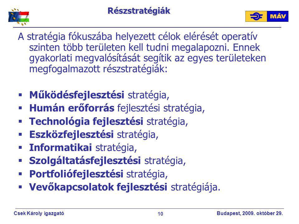 10 Csek Károly igazgató Budapest, 2009. október 29.Részstratégiák A stratégia fókuszába helyezett célok elérését operatív szinten több területen kell