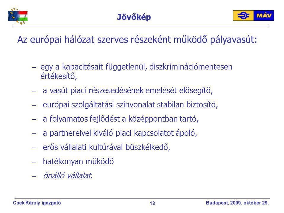 18 Csek Károly igazgató Budapest, 2009. október 29. Jövőkép Az európai hálózat szerves részeként működő pályavasút: – egy a kapacitásait függetlenül,