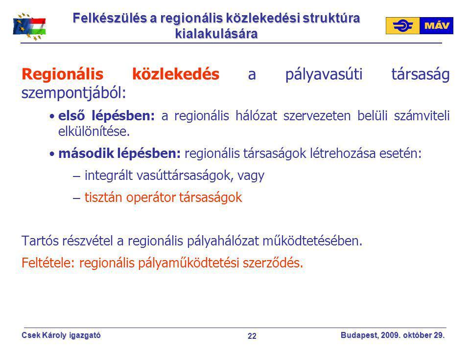 22 Csek Károly igazgató Budapest, 2009. október 29. Regionális közlekedés a pályavasúti társaság szempontjából: első lépésben: a regionális hálózat sz