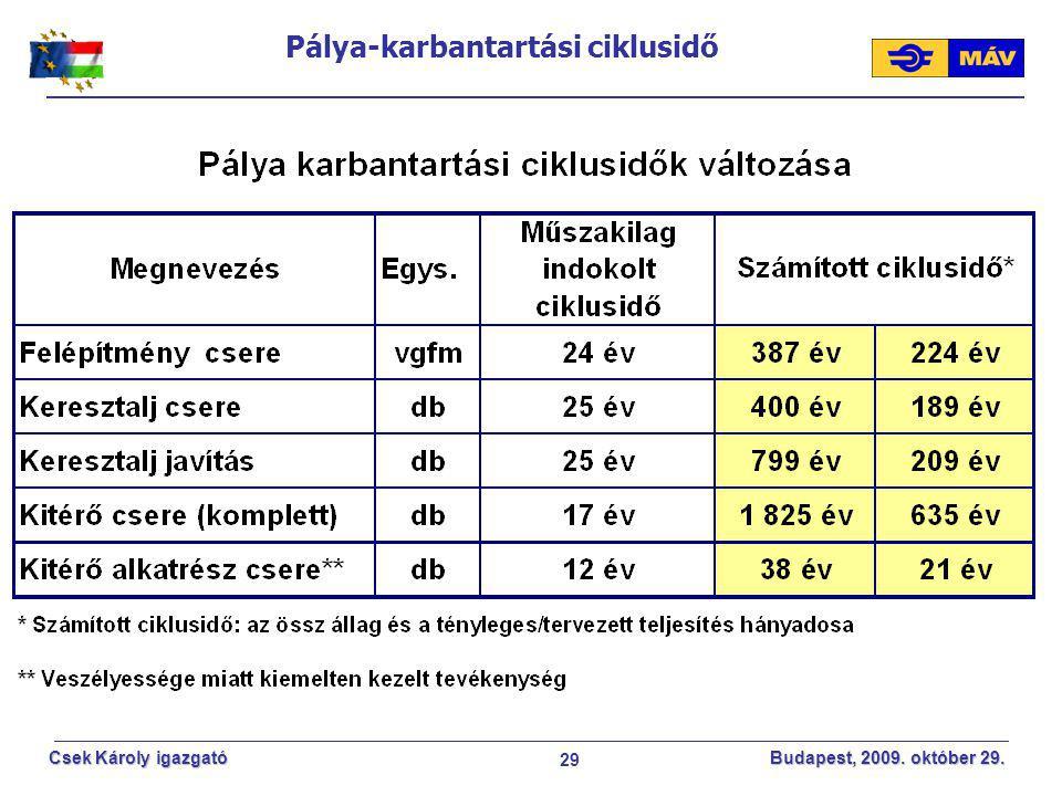 29 Csek Károly igazgató Budapest, 2009. október 29. Pálya-karbantartási ciklusidő